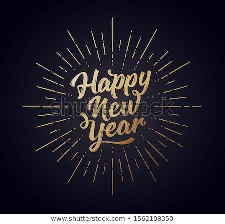 Joyeux Noël happy new year vintage typographie épices Photo stock © ikopylov