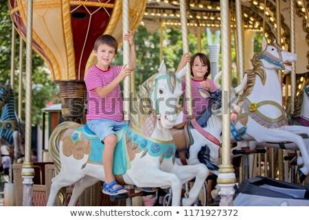 遊園地 回転木馬 ポニー エンターテイメント ベクトル 木 ストックフォト © robuart