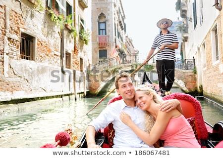 çift binicilik gondol Venedik İtalya Stok fotoğraf © AndreyPopov