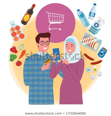 Arabic People Couple Man and Woman Muslims Vector Stock photo © robuart