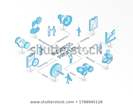 Planning system - modern isometric vector web banner Stock photo © Decorwithme