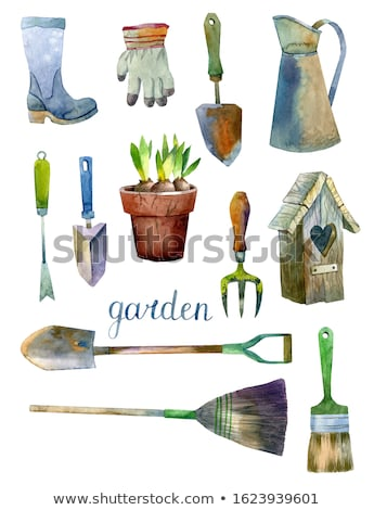 bulb trowel Garden Tool Cartoon Retro Drawing Stock photo © patrimonio