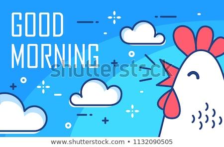 Bom dia texto linha arte galo engraçado Foto stock © Zsuskaa