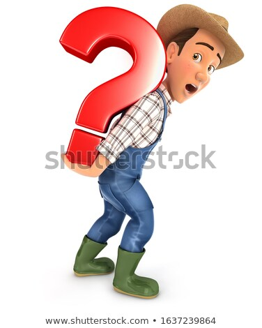 3d farmer carrying heavy question mark Stock photo © 3dmask
