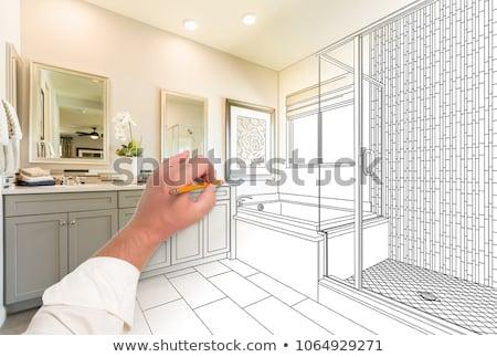 Vám mester fürdőszoba terv rajz befejezett Stock fotó © feverpitch