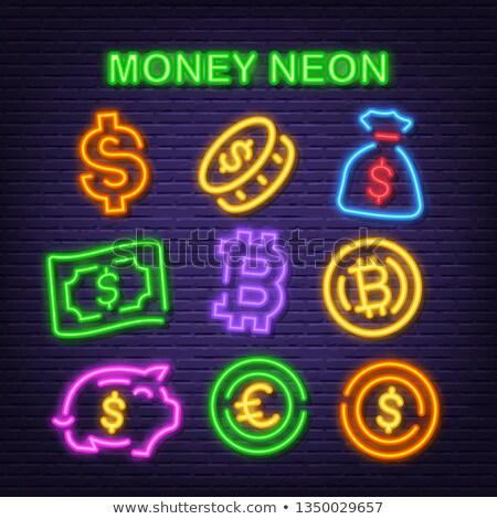 Euro dolar değiştirme neon iş tanıtım Stok fotoğraf © Anna_leni
