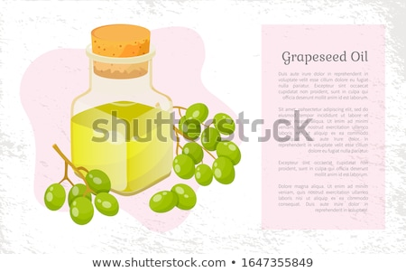 Grapes and Hair Oil in Bottle Postcard Vector Stock photo © robuart