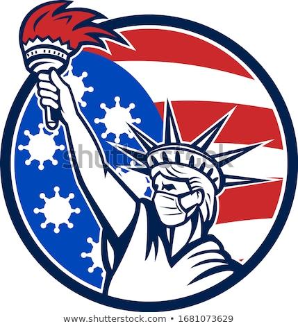 Estátua liberdade máscara cirúrgica mascote ícone Foto stock © patrimonio