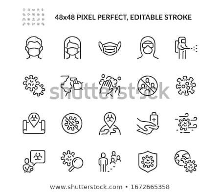 Koronavírus megelőzés vékony vonal vektor ikonok Stock fotó © smoki