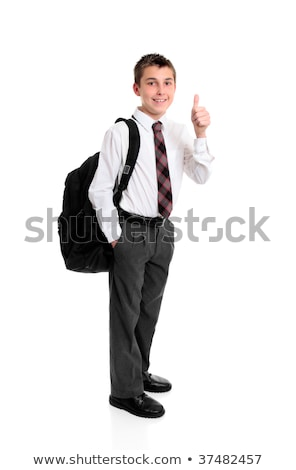 School student in white shirt and greay trousers. Stock photo © lovleah