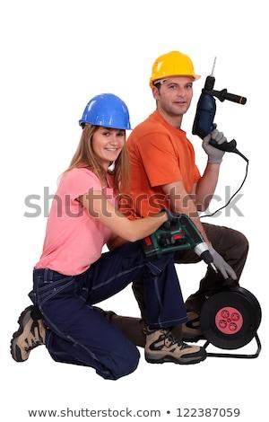 Femme électriques tournevis sourire construction Photo stock © photography33