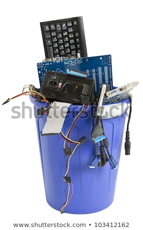 electronic scrap in blue trash can stock photo © gewoldi