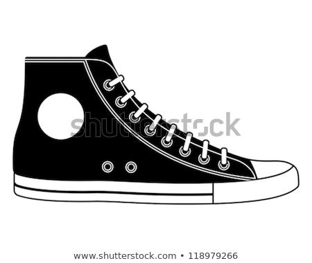 черно белые кроссовки набор вектора рисованной иллюстрация Сток-фото © czaroot