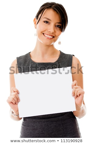 Pretty young businesswoman holding an @ sign Stock photo © photography33