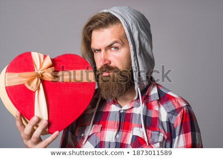 cute young man holding wallpaper Stock photo © photography33