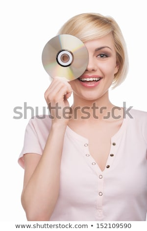女性 cd 眼 コンピュータ 顔 ストックフォト © photography33