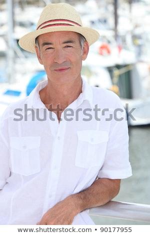 Senior man poseren Panama hoed gebouw Stockfoto © photography33