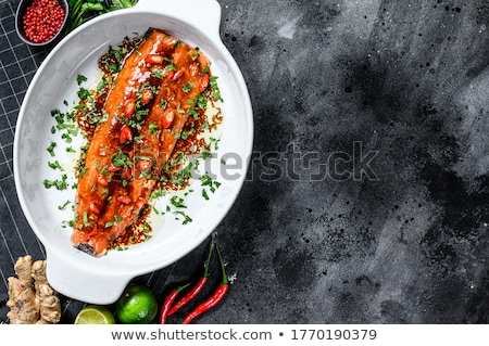 Stockfoto: Forel · filet · geserveerd · sla · tomaat · voedsel