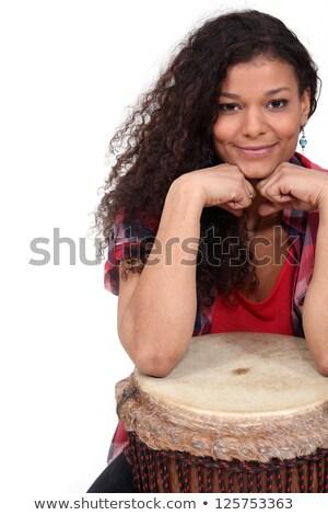женщину музыку улыбка звездой запись барабан Сток-фото © photography33