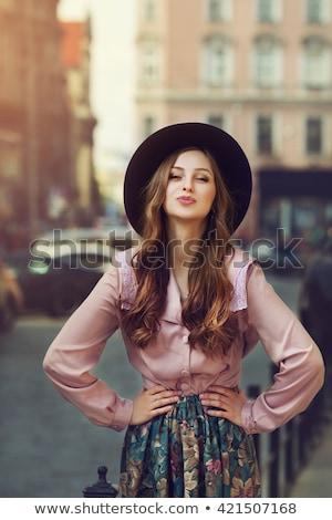 Meisje fedora cute portret jonge mooie Stockfoto © carlodapino