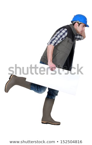 Speedy tradesman holding a blank sign Stock photo © photography33
