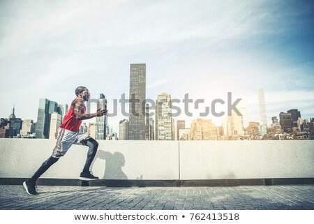 city runner jogging with music in new york city stock photo © maridav