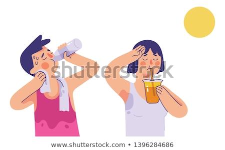 喉が渇いた 少年 ビーチ 肖像 ぬれた 白人 ストックフォト © simply