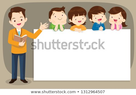 children pointing at blank board stock photo © icefront