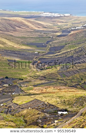 Landscape Lanzarote, Small town with terrace cultivation  Stock photo © meinzahn