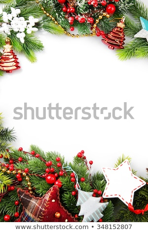 christmas background with cones color balls and berries stock photo © elmiko