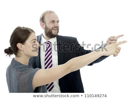 小さな ブルネット 女性 あごひげ ビジネスマン を見る ストックフォト © sebastiangauert