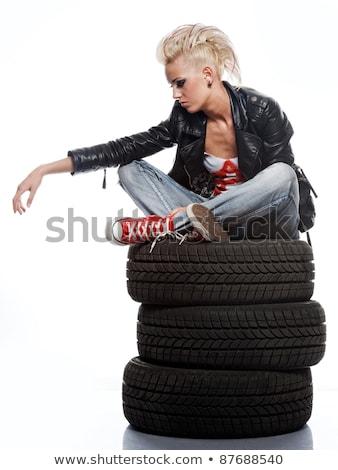 Punk nina neumáticos mujer pintura fondo Foto stock © Nejron