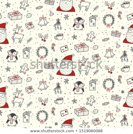 vintage · dessinés · à · la · main · neige · citer · flocons · de · neige · Noël - photo stock © elmiko