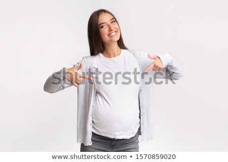 Stok fotoğraf: Güzel · kadın · işaret · mide · gülümseyen · kadın · vücut