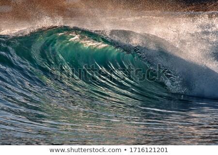 Dalga gün batımı güzel plaj doğa deniz Stok fotoğraf © ajn