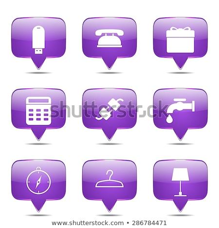 huis · violet · vector · knop · icon - stockfoto © rizwanali3d
