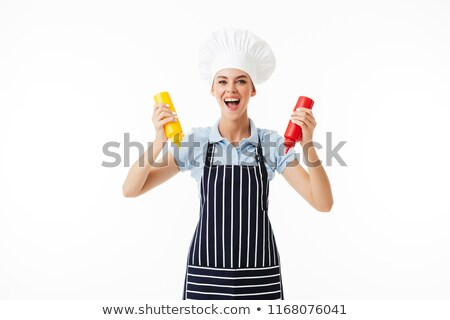 female chef posing over white stock photo © stockyimages