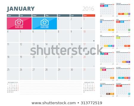 2016 календаря служба таблице с Новым годом Сток-фото © stevanovicigor