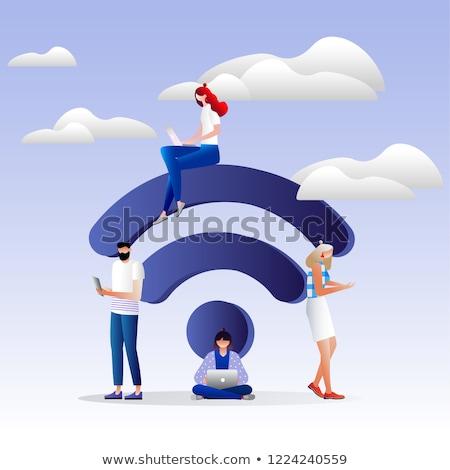 WIFI Violet Vector Icon Design Stock photo © rizwanali3d