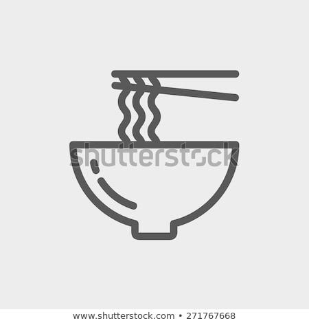 Bowl of noodles with pair chopsticks line icon. Stock photo © RAStudio