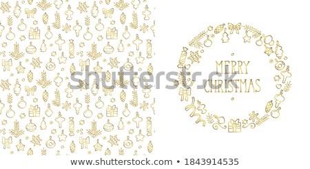 Christmas golden with white snowflakes. EPS 8 Stock photo © beholdereye