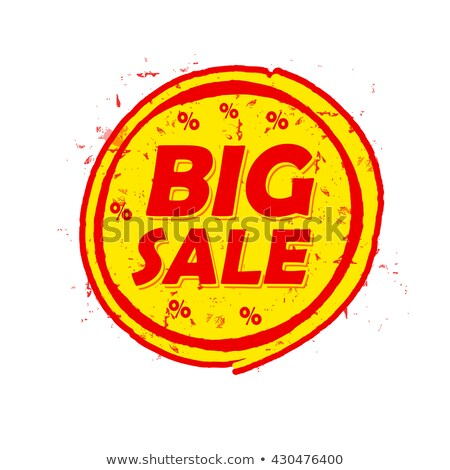 Big Sale And Percentages Off Round Drawn Label Foto stock © marinini