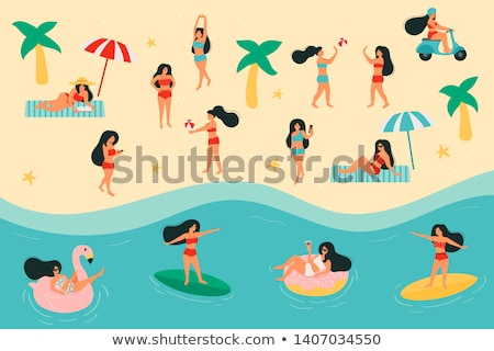 Shapely young woman sunbathing on a surfboard Stock photo © dash