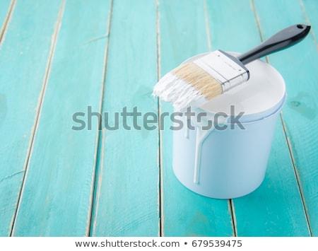 Wiadro szczotki tabeli drewniany stół tekstury drewna Zdjęcia stock © fuzzbones0