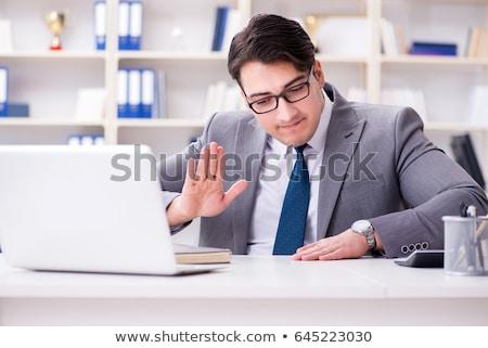 Empresário jogar bateria engraçado isolado branco Foto stock © adam121