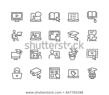 online learning line icon stock photo © rastudio