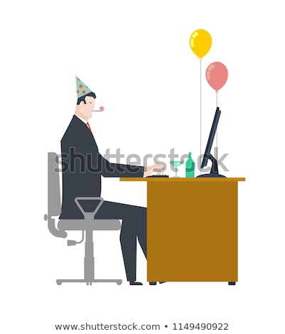 Businessman at party. Celebratory cap and Party horn. ballon and Stock photo © MaryValery