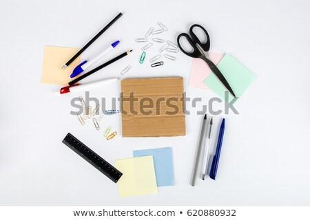 Vue papier table en bois métal table Photo stock © wavebreak_media