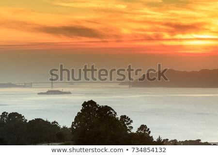 Feu smoky coucher du soleil Golden Gate Bridge grizzly pic Photo stock © yhelfman