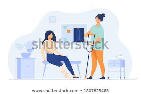 Stock photo: Assistant helps patient with x-ray